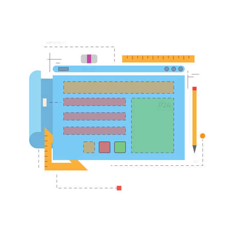 Prototyping app or internet web page. Dashed lines, windows and rectangles. Blueprints and planning documents. Pencil and ruler, interface and ui, ux planning. Web layout for page. Иллюстрация