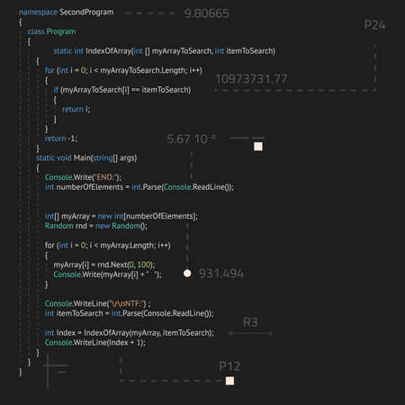Realistic code in IDE with abstract elements. Software development, back end and front end. Vector image of lines of code. Script or method on programming language in code editor. Иллюстрация