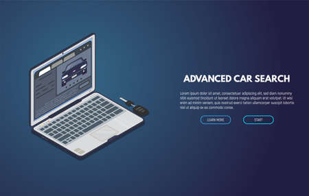 Online car search web site. Isometric laptop with car ad. Online searching tool for used or new cars. Computer app for automobile buy and sell.