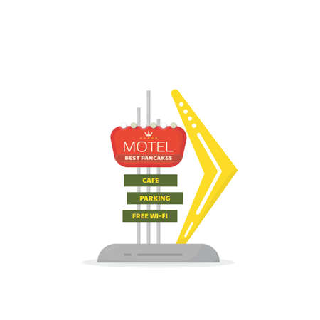 Road hotel sign. Retro style 50s road motel sign with lamps and arrow. Text on road banner with lights. Old style vintage advertising sign. Flat style vector illustration.
