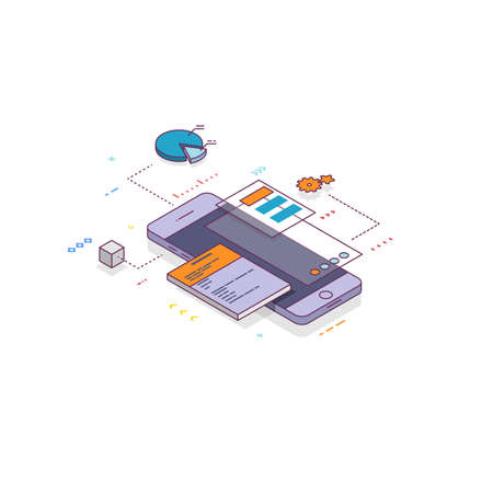 Mobile app develop concept. Isometric line mobile phone with UI and layers of applications. Creating an app on mobile phone. UI and software. Prototyping web and mobile page or app.