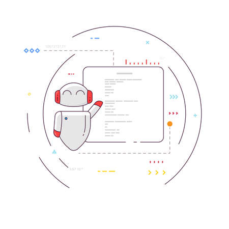 Smiling robot with presentation. Happy bot presenting slides. Artificial intelligence concept. Simple robot with circles and signs. Modern thin line style vector.