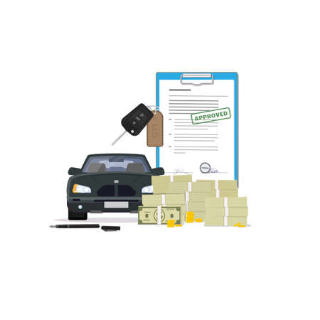 Car loan. Big pile of paper money, coins, agreement with sign and stamp, car modern keys. Black color modern new car to buy. Signing contract for new car.