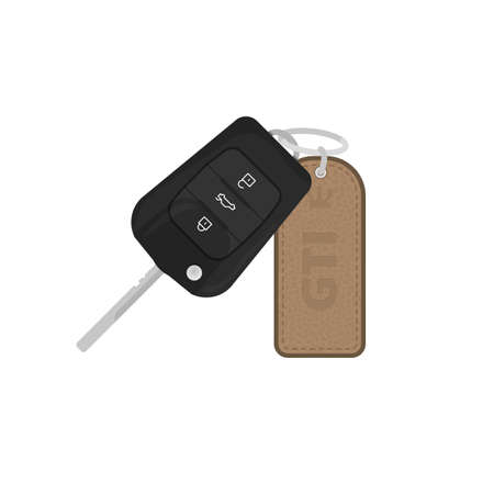 Modern key for car with leather trinket with text and leather texture. Alarm remote control. Auto lock security key vector illustration. Realistic automobile keys.