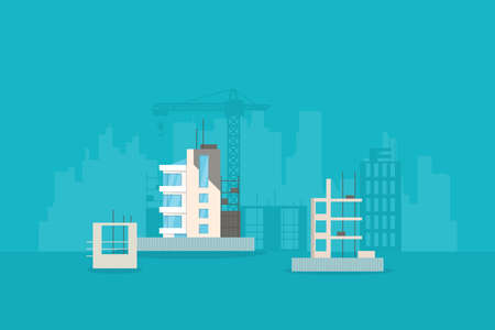 New building construction. Architecture city development. Building crane, half built houses and fence. New, modern exteriors and facades. City with skyscrapers on background. Иллюстрация