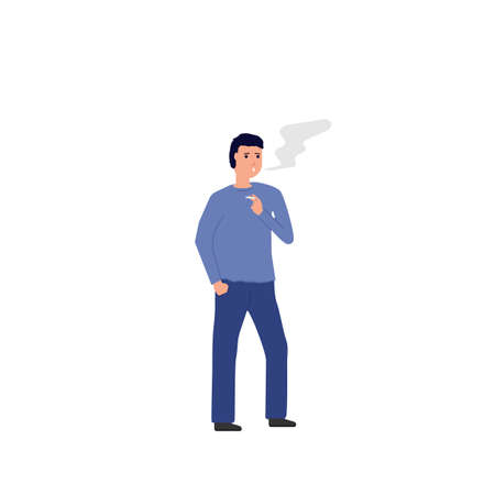 Man thinking and smoking. Standing man with cigarette in his hand, with cloud of black smoke. Cigarette addiction vector. Cartoon character vector image. Иллюстрация