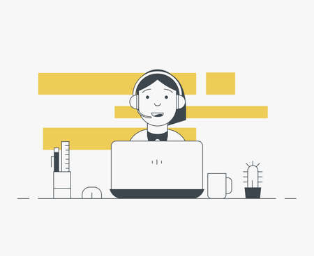 Workspace of web designer or programmer with laptop. Flat style line vector. Online customer service support. Thin line modern style vector illustration. Working with notebook and headphones.