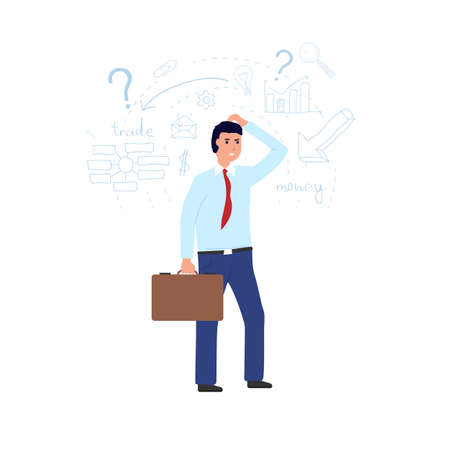 Man thinking and making a financial decision. Businessman thinking and scratching his head. Solution or problem concept. Character on white background with thinking icons. Confused with finances.