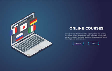 Online language courses web site. Isometric laptop with website and isometric 3d flags of Japan, Germany and other countries. Online education and language courses. Computer student app. Иллюстрация