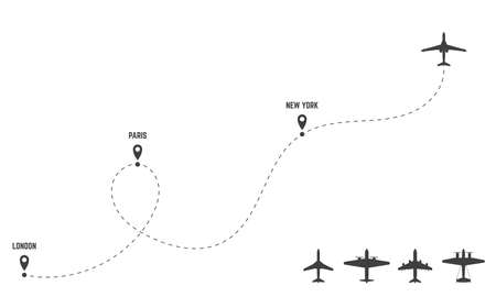 Plane dash trace. Set of planes. Routes and direction of travel. Black silhouettes of airplanes and routes with dashed lines. Air flights derection. City and pin on plane route.