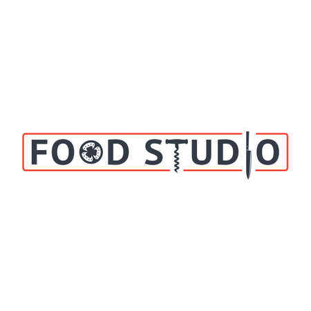 Food studio logo and emblem. Tomato, corkscrew and knife letters. Red line frame. Restaurant or cooking courses logo. Kitchen studio stylized letters.