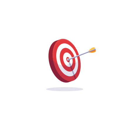 Archery target and arrows. Goal achievement and accuracy concept. Arrow target illustration. White background with shadow. Red and white target with shadow and arrow.