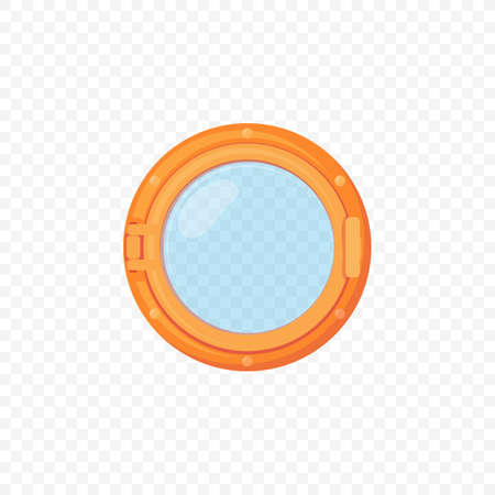 Retro style brass porthole with glass and lock. Old metal copper and glass ship or submarine underwater illuminator. Cartoon vector style template. Transparent glass on white background. Иллюстрация