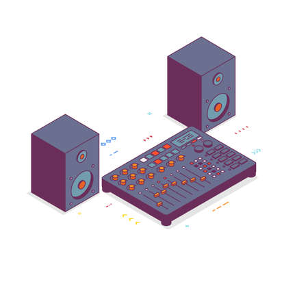 Digital mixer isometric style illustration. Acoustic speakers with dj digital mixer. Buttons and knobs for music mixing.