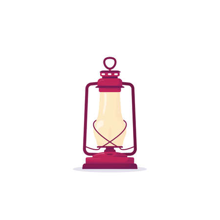 Retro kerosene lantern with fire. Old metal rust, copper glass lantern with fire in it on white background. Realistic cartoon vector. Camping equipment gas lantern.
