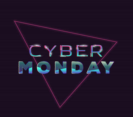 Cyber monday glitch sign with distorted letters. Retro style back to eighties style banner. Glitch effect text on dark background with old tv line effect. Sale and neon glitch light glowing.