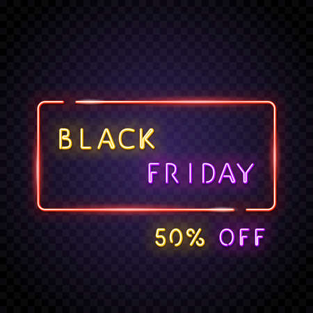 Black friday neon text with opacity. Big sale neon text. 50% off bonus text. Neon lamp square sign. Glowing neon sign of big sign or banner. Template for glowing neon banner, transparent background.
