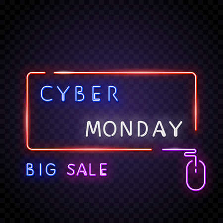 Cyber monday neon text with opacity. Big sale neon text. Big off bonus text. Neon lamp square sign. Glowing neon sign of big sign or banner. Template for glowing neon banner, transparent background.