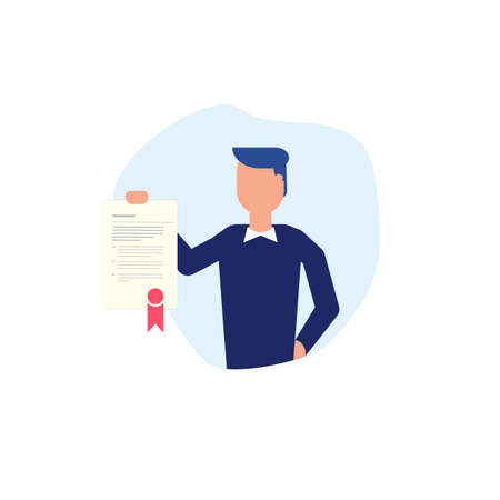 Business man holding in hand agreement or diploma with text, stamp and ribbon. Contact and diploma vector business illustration. Faceless character on white with contract.