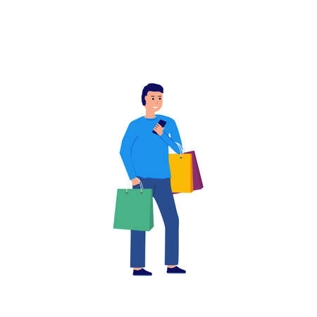 Man with shopping bags standing and looking at mobile phone. Standing man with phone in his hand, with bags with purchases. Happy buyer or customer. Cartoon character vector image.