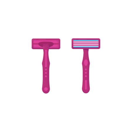 Razor back and  front view. Shaver and sharp razor. Beauty shaver in pink color. Shaving tool for women or for beauty shop. Иллюстрация