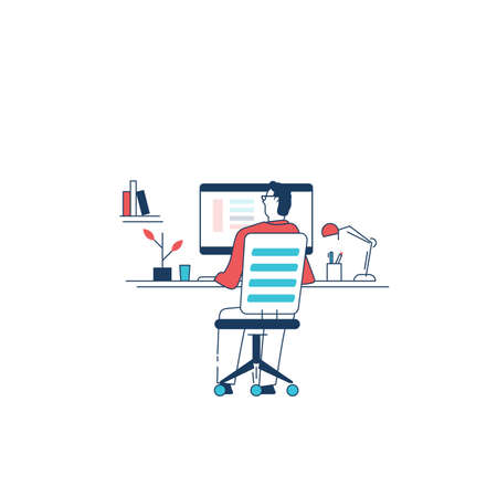 Man sitting on chair and working on computer. Professional designer, programmer working from home. Home office interior with books and plants. Big pc monitor with apps and web. Vector illustration. Иллюстрация