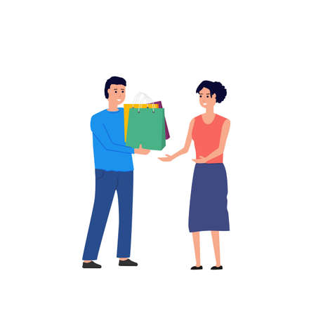 Man with shopping bags and presents. Man giving gifts to woman. Flat style people vector illustration. Male and female christmas or other holidays.