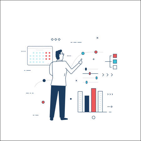 Business man looking and finance analytics and statistics. Man standing and using interface. Professional trader or manager finding finance solutions. Line style vector illustration.