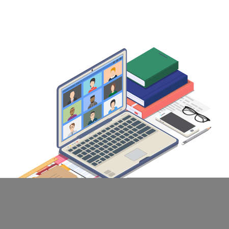 Online education or conference on computer web app. Isometric laptop with online room meeting. Online education and studying, virtual office and workplace.