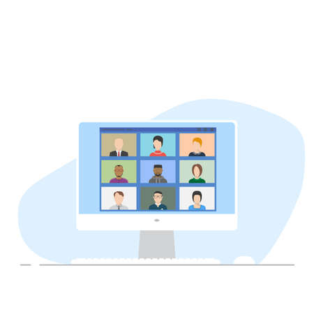 Online conference on computer web app. Flat style monitor, keyboard and white mouse with online video chat. Online working and online office. Web education and studying. Иллюстрация