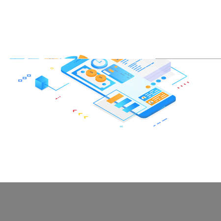 Mobile app for management and organization concept. Isometric mobile phone with futuristic UI and layers of organizer applications for finances. UI and software app. Gradient isometric vector.