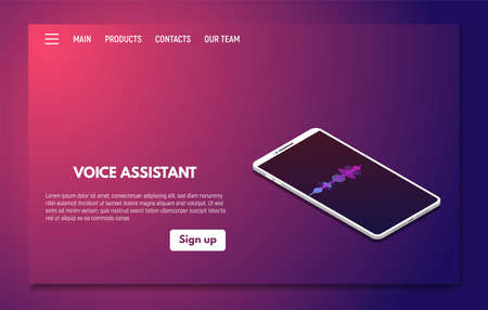 Voice assistant on mobile phone app. Personal assistant and voice recognition concept. Soundwave recognition technologies. Pink and blue gradients. Landing page template vector.