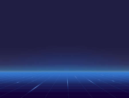 Retro style grid background eighties banner. Blue grid plane with glowing horizon. Blue and light blue gradients glowing grid. Futuristic tile and texture. Geometric grid horizon background.
