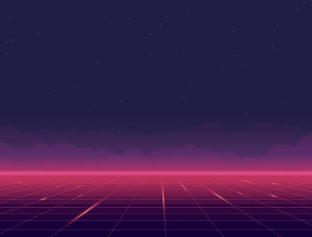 Retro style pink grid background eighties banner. Clouds on the horizon above grid plane. Night sky and stars. Purple pink gradients glowing grid. Futuristic tiles. Geometric grid horizon background.