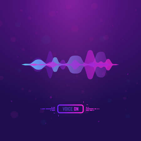 Voice assistant. Voice recognition technology. Gradient style sound wave on background. Personal assistant banner with button and text.