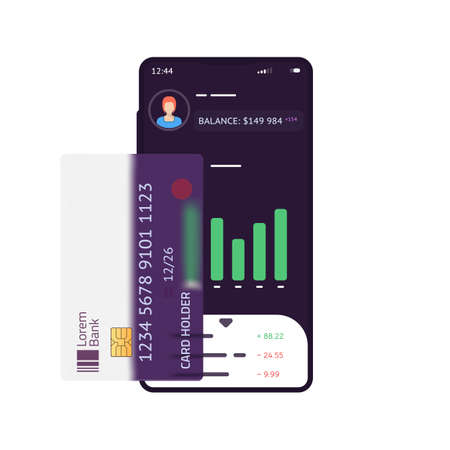 Phone with finance app with chart and banking transaction ui. Transparent credit card on phone. Balance and statistics for money management. Modern vector illustration. Иллюстрация