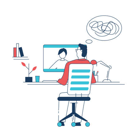 Man sitting on chair and talking to woman online. Professional psychotherapist talking to client. Home office interior with books and plants. Doctor helping patient line style vector illustration.