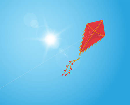 Red kite flying in the blue sky. Makar sankranti or battle kite with red and golden colors with semi transparent line rope on blue sky and bright sun. Sun flare on background.