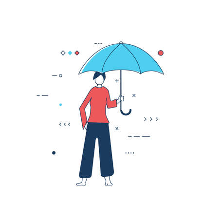 Person with blue umbrella. Women standing and holding umbrella protecting from bad weather and rain. White background and girl protected by umbrella. Abstract line style vector illustration.