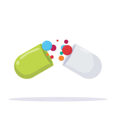 Green and white medical openen pill with bubbles inside. Capsule with open two sides and inner substances. Medication, dietary and health care vector illustration.