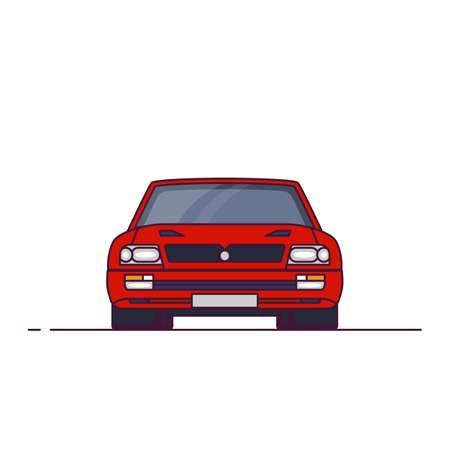 Front view of red sport car from 90s. Red sport car GT coupe. Line style vector illustration. Sport car banner. Speed and racing auto.