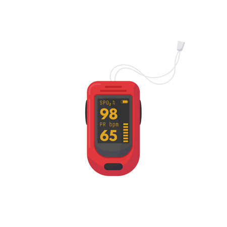 Red pulse oximeter with digits on screen. SPO2 and PR bpm data. Digital healthcare device for saturation and pulse measurement and check for oxygen in blood. Flat style modern vector illustration.