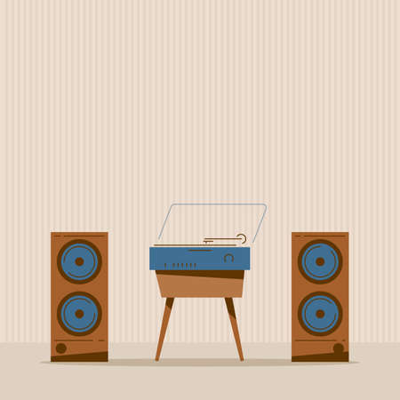 Turntable with vinyl music. Retro style vinyl disc player with audio speakers. Retro style room with speakers and music party. Old-fashioned vector illustration.