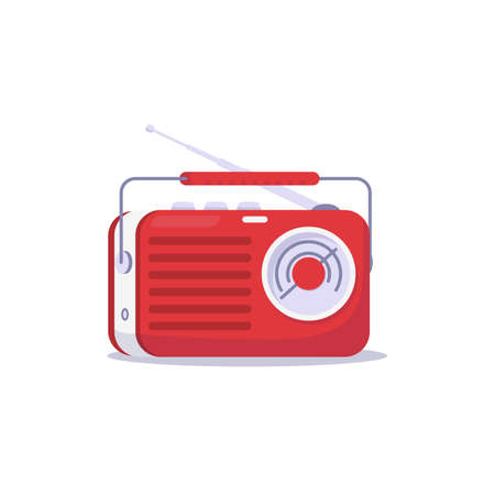 Listening to retro radio with antenna. Cartoon style vector illustration. Red old radio receiver from 50s with window to select station.