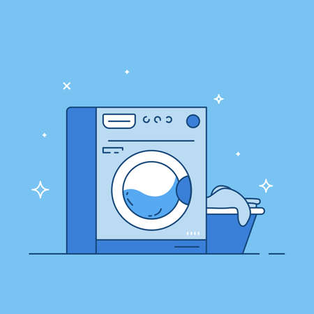 Laundry machine and basket with clothes. Laundry line style vector. Washing machine vector line style banner with blue and white colors.  イラスト・ベクター素材