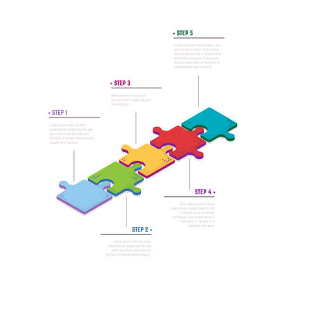 Diagram with five isometric puzzle pieces connected to each other. Иллюстрация