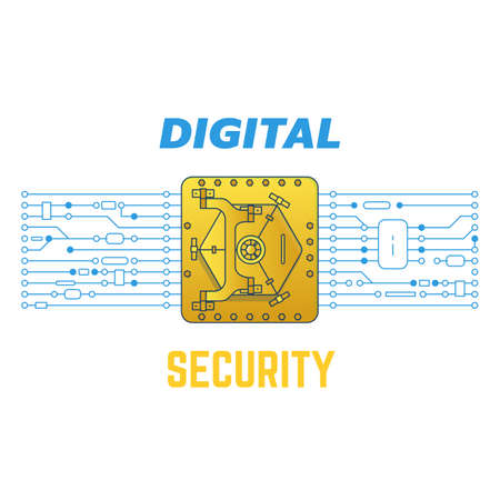 Digital golden safe with circuit. Digital security concepts. Safe and radio parts connected to microprocessor. Digital currency, crypto money in golden safe. Иллюстрация