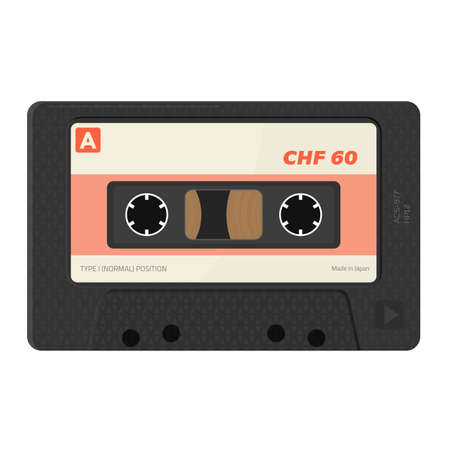 Retro style, realistic audio cassettes front view with label. Empty labels template audio cassette. Magnetic cassette label 80s design. Vector illustration with opacity.