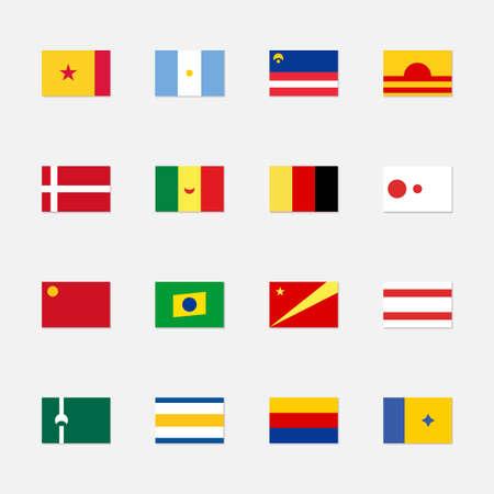 Set of fictional flags. World fantasy flags for fiction. Made up rectangle flags of non-existent countries. Ilustração Vetorial