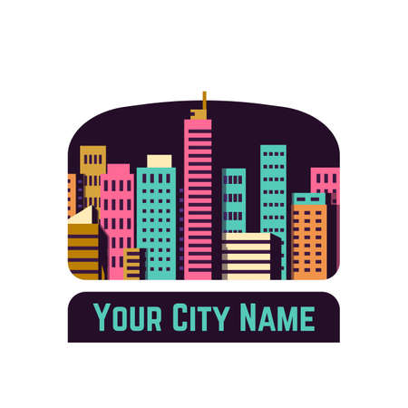 City with buildings and skyscrapers on dark, night background. Colored buildings, skyscrapers. Flat style vector icon illustration. Business city center with modern houses. Business center of town.